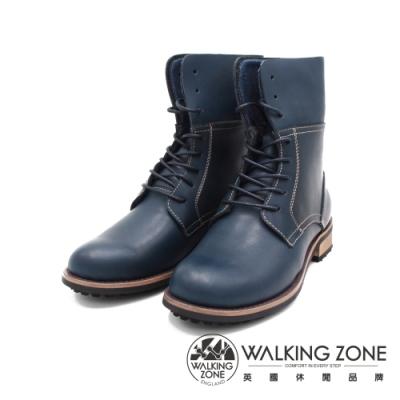WALKING ZONE(女)帥氣俐落8孔造型休閒中筒 女靴-藍(另有黑.咖)