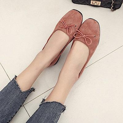 韓國KW美鞋館 美搭款特殊材質花邊平底鞋-粉色