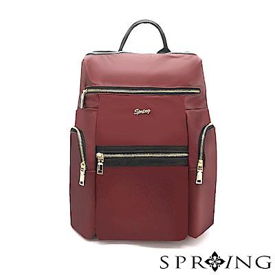 SPRING-微光澤輕量旅行後背包-寶石紅