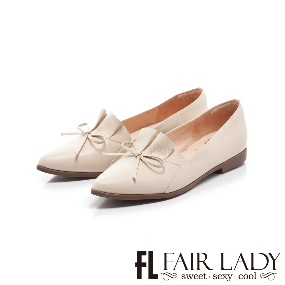 FAIR LADY 小時光 百摺皮革結飾尖頭平底鞋 亞麻