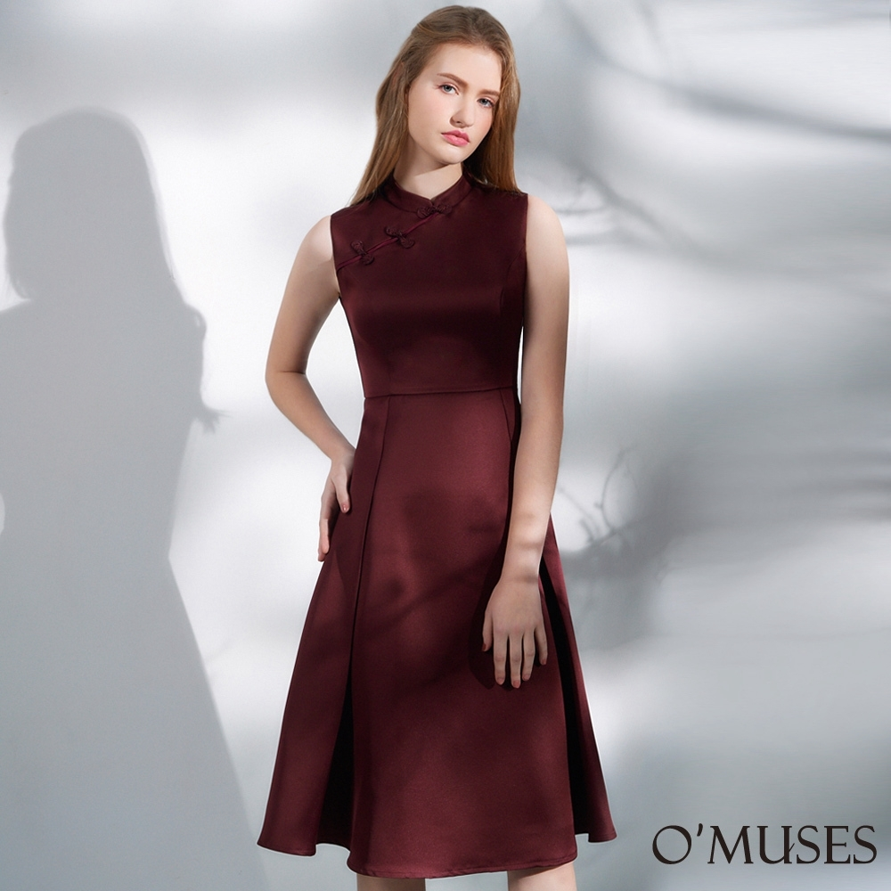 OMUSES 改良式旗袍中長洋裝