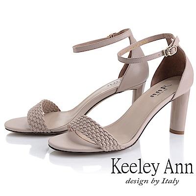 Keeley Ann簡約一字帶 編織半圓造型高跟涼鞋(粉紅色-Ann系列)