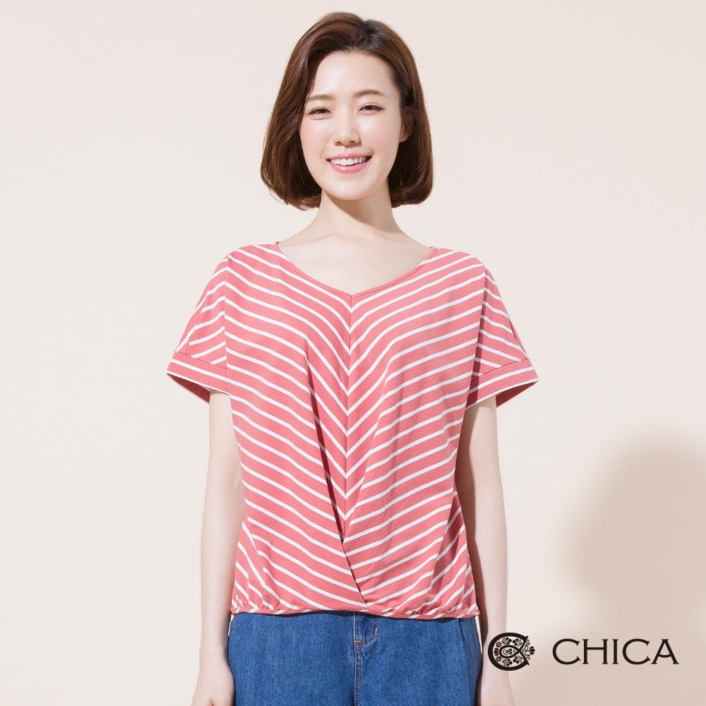 CHICA 清甜日常背綁蝴蝶結條紋上衣(2色)