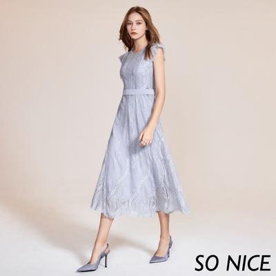 SO NICE優雅蕾絲小蓋袖長洋裝