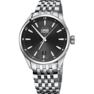 ORIS豪利時 ARTIX DATE 日期機械錶-黑x銀/39mm 0173377134034