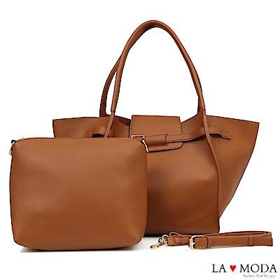 La Moda 時尚搭配單品超大容量釦飾設計肩背斜背子母包(棕)