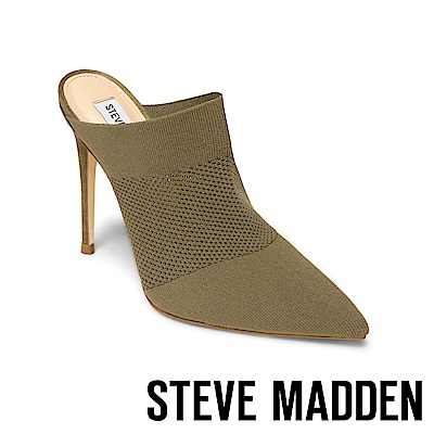 STEVE MADDEN-DRASTIC尖頭彈性針織鞋面高跟拖鞋-墨綠