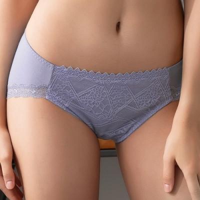 摩奇X-Good Fit Bra M-3L中腰三角褲(柔霧藍) 細緻蕾絲 莫代爾含棉 舒適無痕