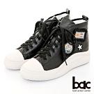 【bac】休閒享樂布標俏皮高筒綁帶休閒鞋-黑