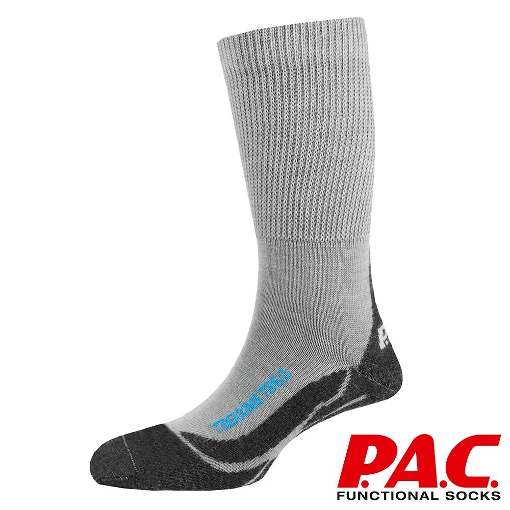 【PAC德國】中性款美麗諾羊毛專業中筒健行襪PAC8022灰黑/運動襪/壓力釋放/抗臭透氣快乾