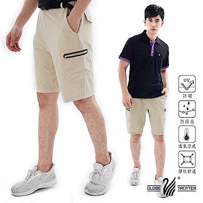 【遊遍天下】男款彈性抗UV休閒短褲GP10005(贈腰帶)卡其