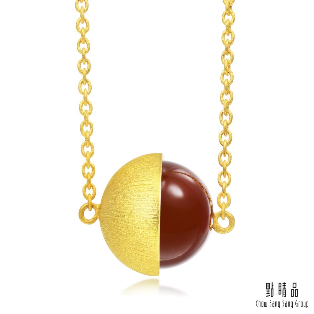 點睛品 G系列 時尚單顆半圓形紅瑪瑙純金項鍊