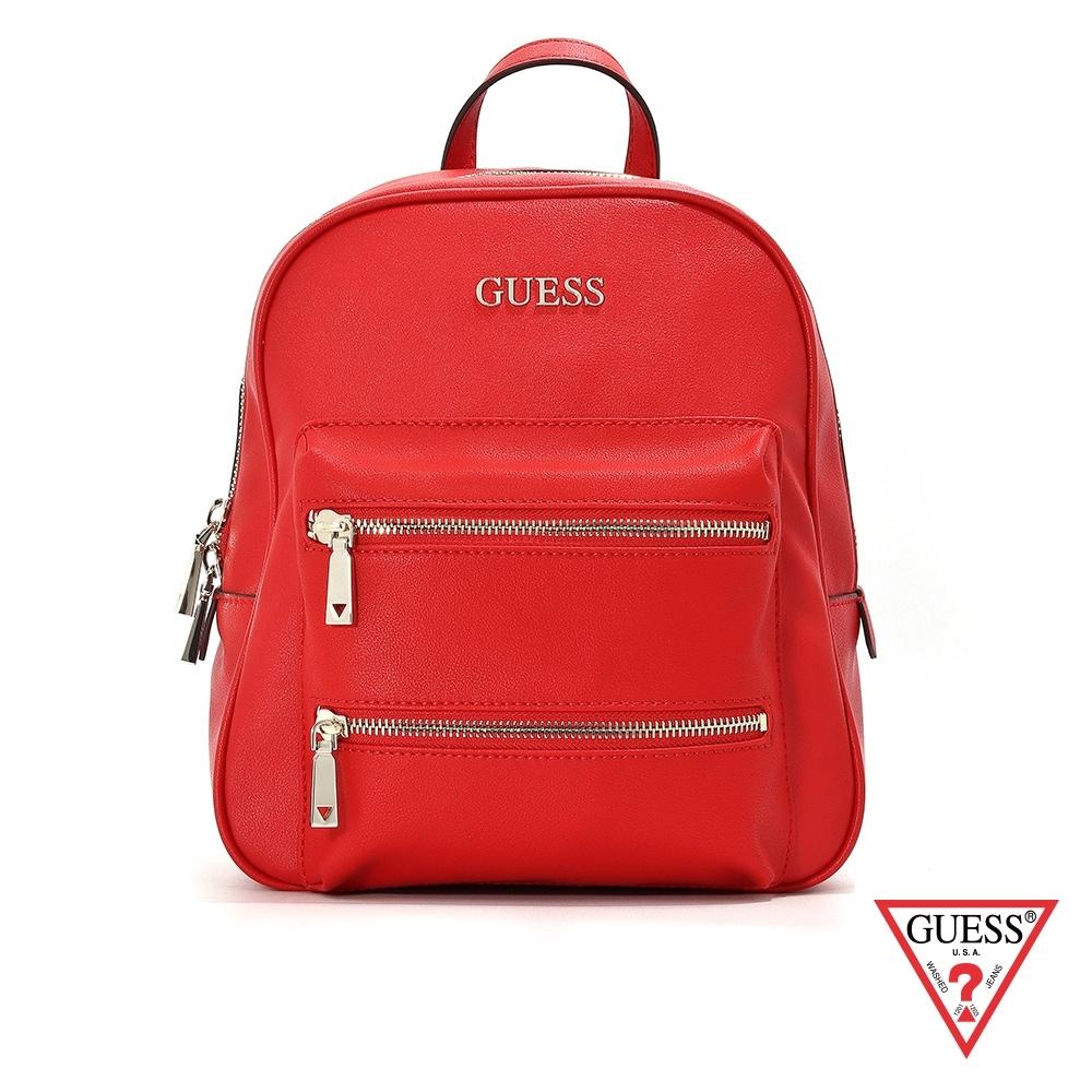 GUESS-女包-雙拉鍊造型簡約後背包-紅