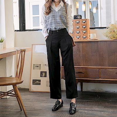 簡約俐落純色打褶寬版褲-OB大尺碼