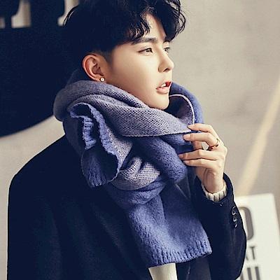 Decoy 雙面純色 學院男女中性保暖圍巾 藍