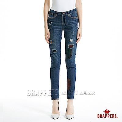BRAPPERS 女款 Boy Friend系列-毛料補丁八分反摺褲-深藍