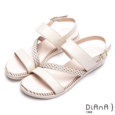 DIANA 永恆羅馬—斜紋圓頭真皮釦帶平底涼鞋-米