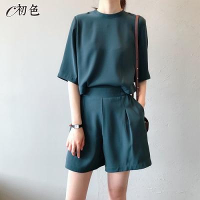 初色  後背鈕扣休閒上衣及短褲套裝-共2色-(M/L可選)