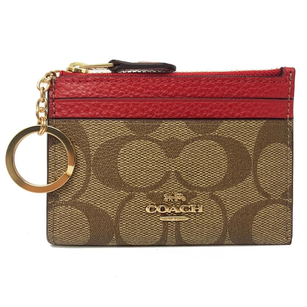 COACH 新款悠遊卡鑰匙零錢包(PVC-焦糖/紅)