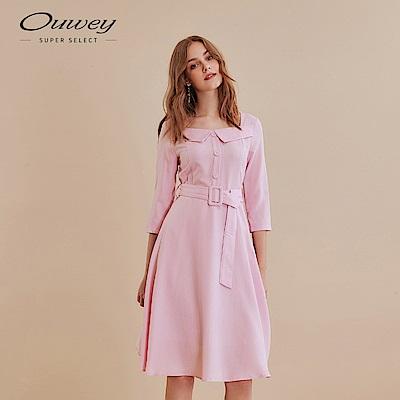 OUWEY歐薇 復古裝飾領片洋裝(粉)
