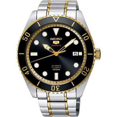SEIKO 精工 盾牌五號 時尚機械手錶 SRPB94J1-黑X金/44mm