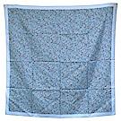 HERMES 經典方塊H LOGO圖騰絲質方巾/披巾(藍-100X100cm)