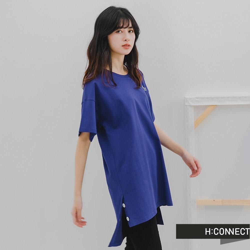 H-CONNECT 韓國品牌 女裝-圓領簡約字母長版上衣-深藍色