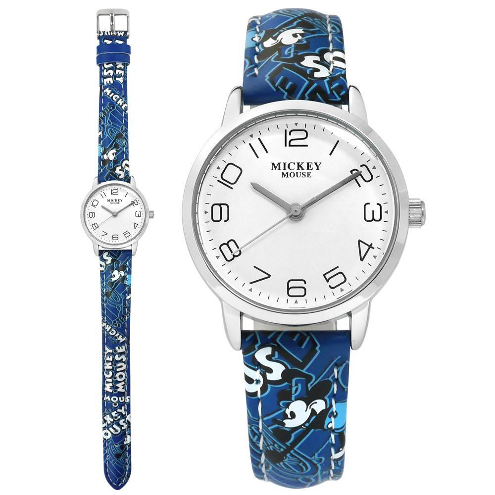 Disney 迪士尼 米奇系列 造型錶帶 兒童錶 卡通錶 皮革手錶-白x藍/30mm