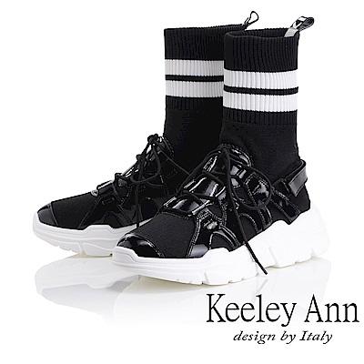 Keeley Ann 獨特魅力~英文字樣彈性襪套式中筒靴(黑色-Ann)