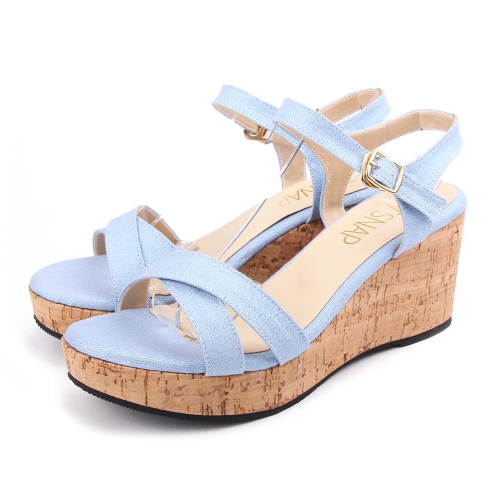 TTSNAP楔型涼鞋-夏日百搭露趾軟木厚底坡跟涼鞋 淺藍