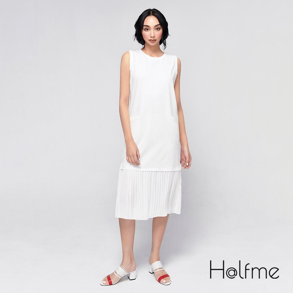 Halfme-無袖下擺拼接雪紡洋裝-女