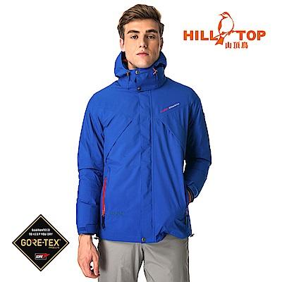 【hilltop山頂鳥】男款GORETEX兩件式防水羽絨短大衣F22MX2石藍