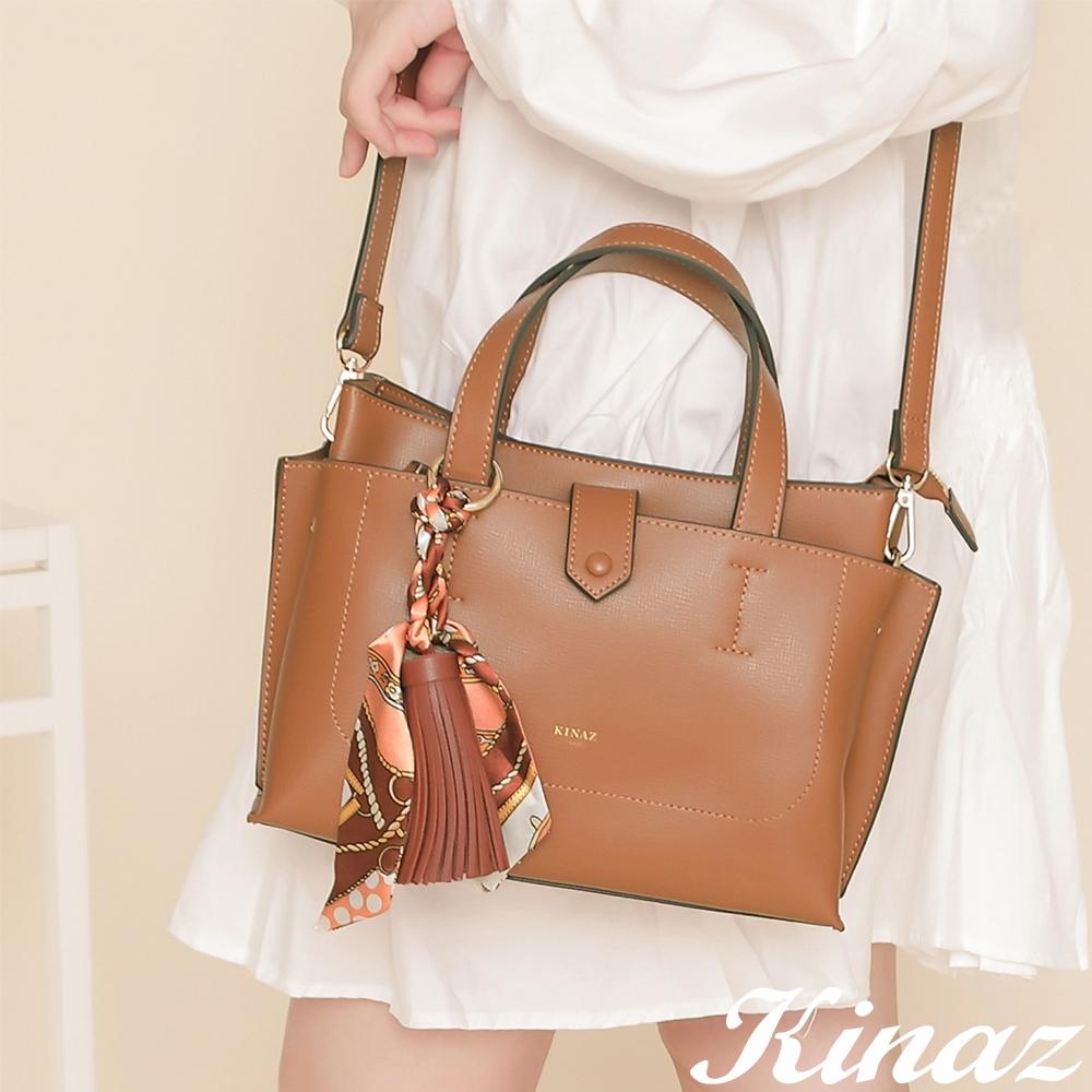 KINAZ 附手拿包印花絲巾流蘇吊飾多層手提斜背包-甜棕楓糖-森林之行系列
