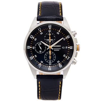 SEIKO 競速帥氣風格的三眼計時手錶(SNDC89P2)-黑面X黑色/40mm