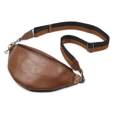 MARKBERG Elinor 丹麥手工牛皮時尚艾利諾寬帶腰包 胸包 斜背包(古栗棕)