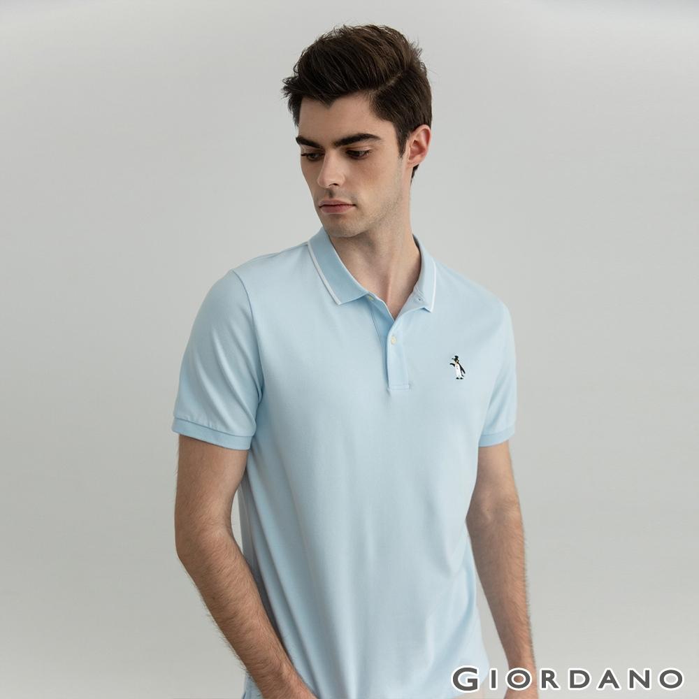 GIORDANO   男裝素色企鵝刺繡POLO衫 - 06 粉藍
