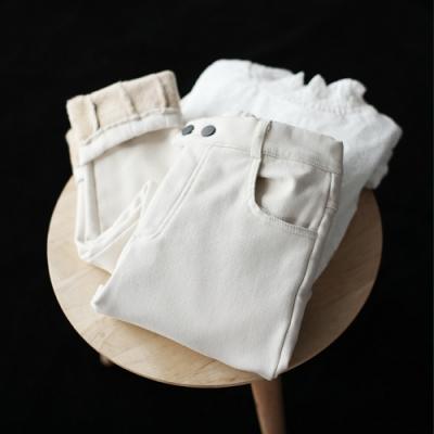 素色工裝鬆緊腰雙扣休閒寬鬆加絨收褶小腳長褲-設計所在