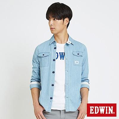 EDWIN 基本袋蓋式 牛仔襯衫-男-拔淺藍
