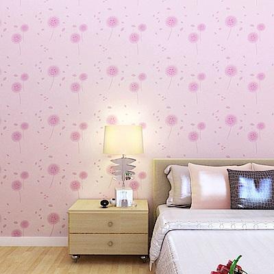 半島良品 防水PVC自黏裝飾牆紙45x200cm-粉色蒲公英