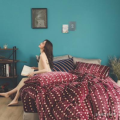 PRIMARIO 台灣製 雙人-防靜電極緻保暖法蘭絨被套/床包四件組 勃根地