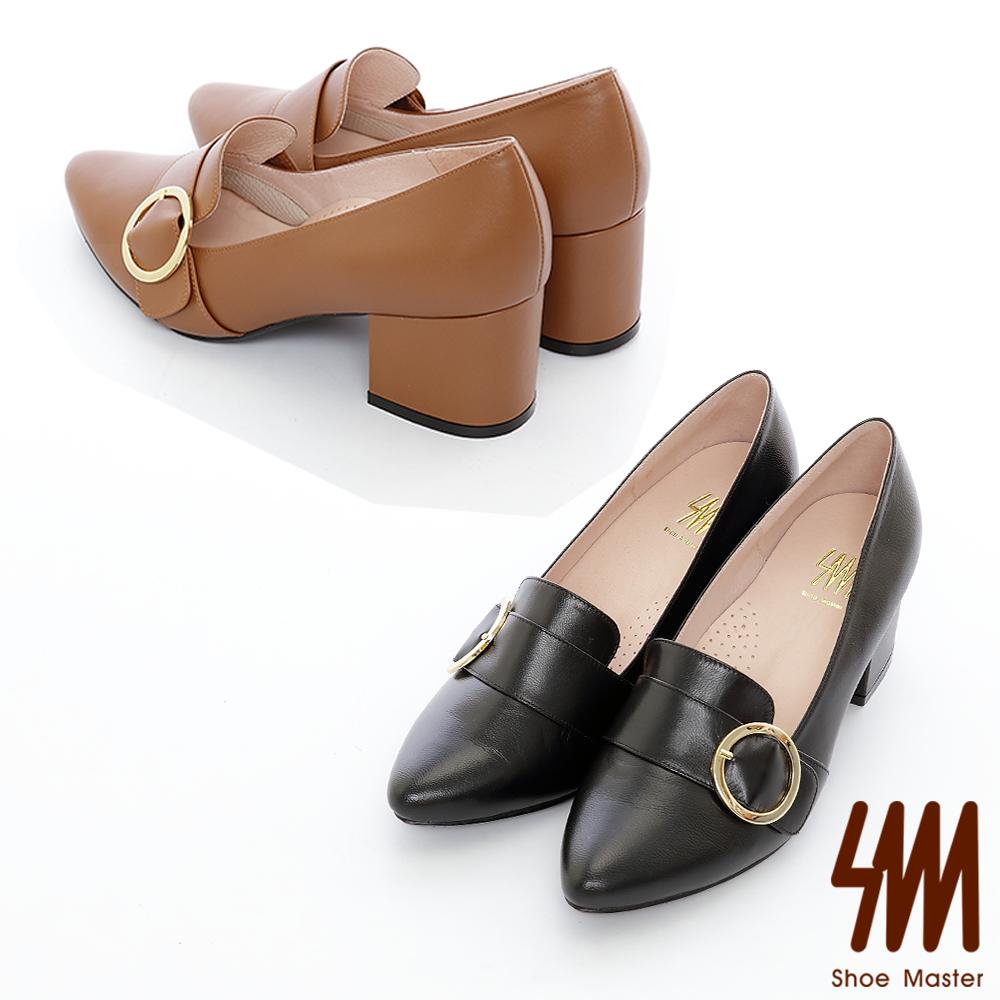 SM-真皮款-金屬飾釦復古厚底高跟鞋2色