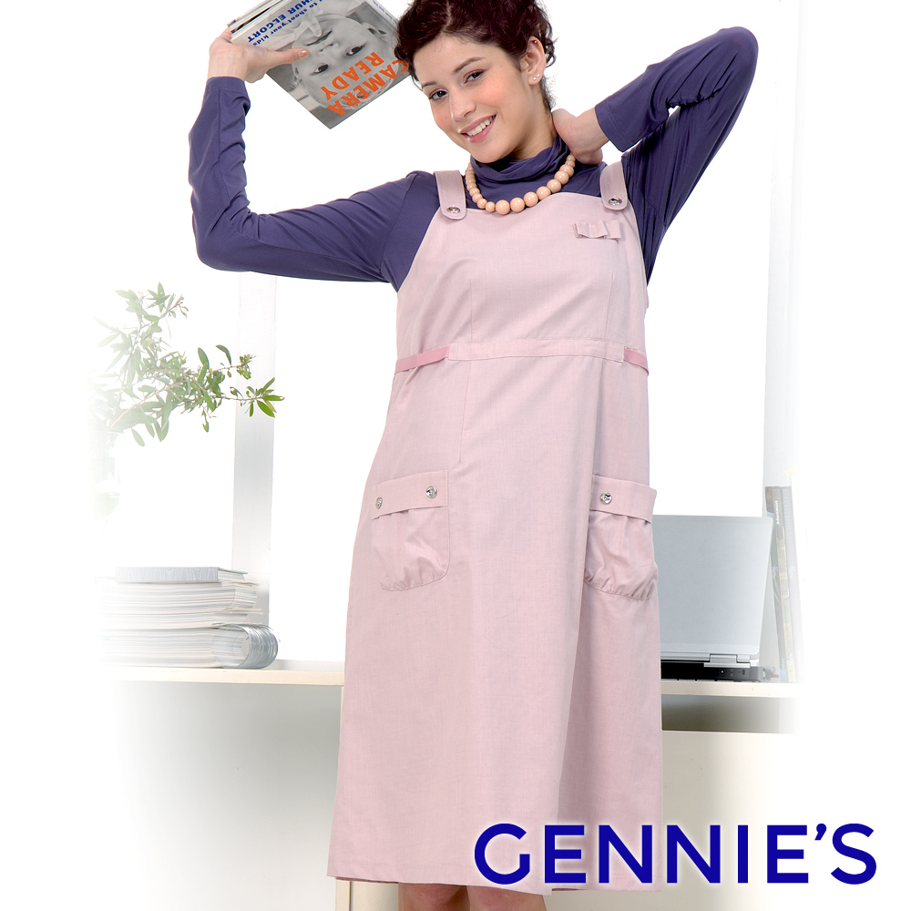 Gennies專櫃-吊帶式背心洋裝款電磁波防護衣(粉/黑GQ39)