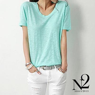 上衣 素色圓領竹節棉短袖上衣(綠) N2