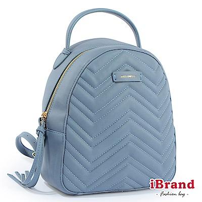 iBrand後背包 質感水波紋柔依後背包-寧靜藍