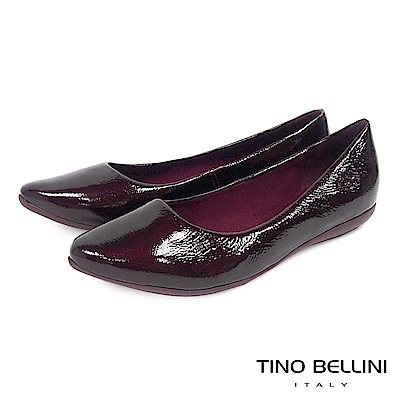Tino Bellini巴西進口金屬爆裂紋牛漆皮平底娃娃鞋_酒紅