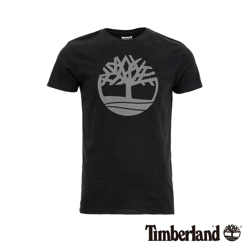 Timberland 男款黑色反光修身短袖T恤 A1WYK