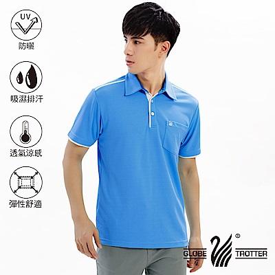 【遊遍天下】MIT男款吸濕排汗抗UV機能POLO衫GS10026水藍