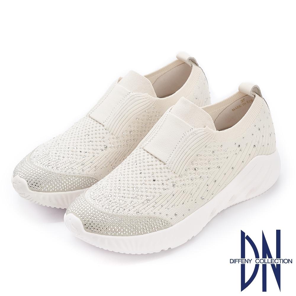 DN休閒鞋_水鑽點綴異材質厚底平底鞋-白