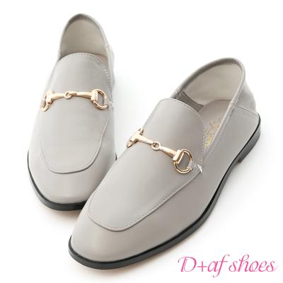 D+AF 上質品味.馬銜釦後踩式二穿紳士便鞋*灰