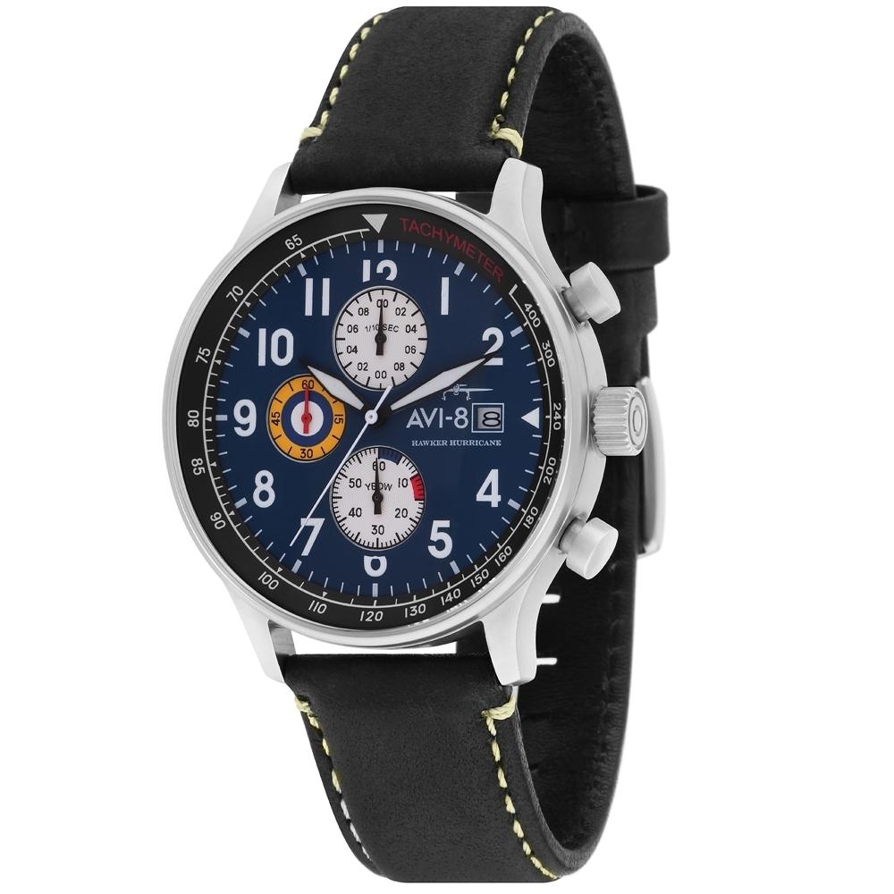 AVI-8 HAWKER HURRICANE 潮流手錶-黑/42mm